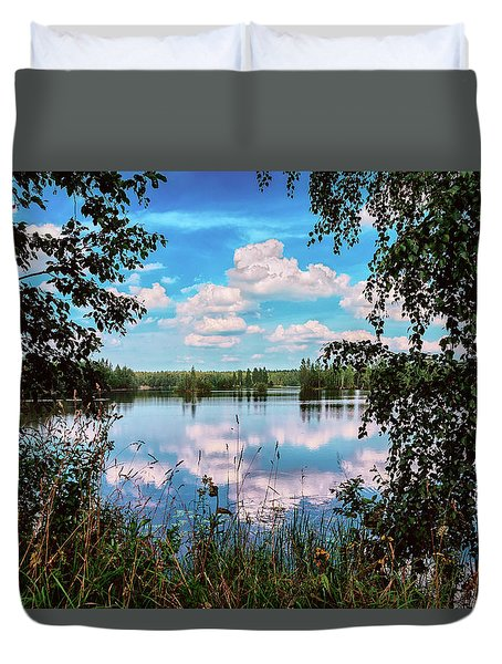 beautiful forest lake in Sunny summer day Duvet Cover