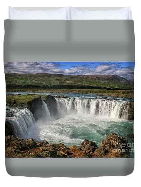 Beautiful Godafoss Waterfall In Iceland Duvet Cover