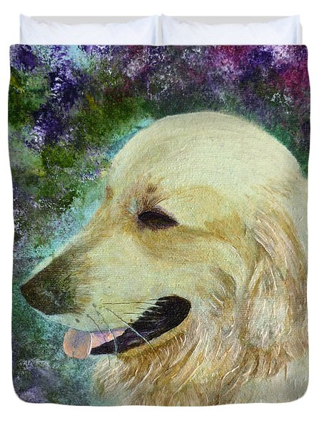 Duvet Cover featuring the painting Beautiful Golden by Claire Bull