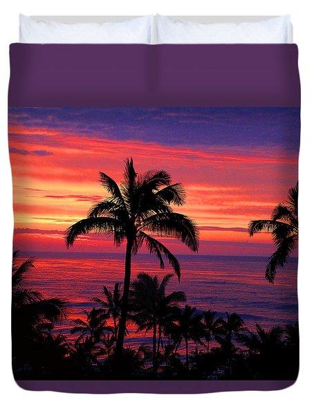 Beautiful Hawaiian Sunset Duvet Cover by Michael Rucker