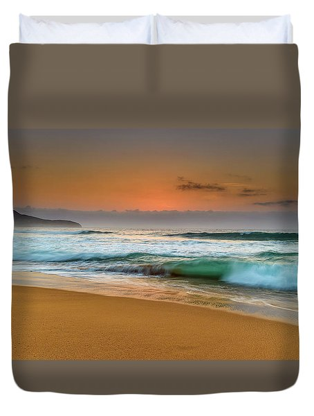 Beautiful Hazy Sunrise Seascape  Duvet Cover