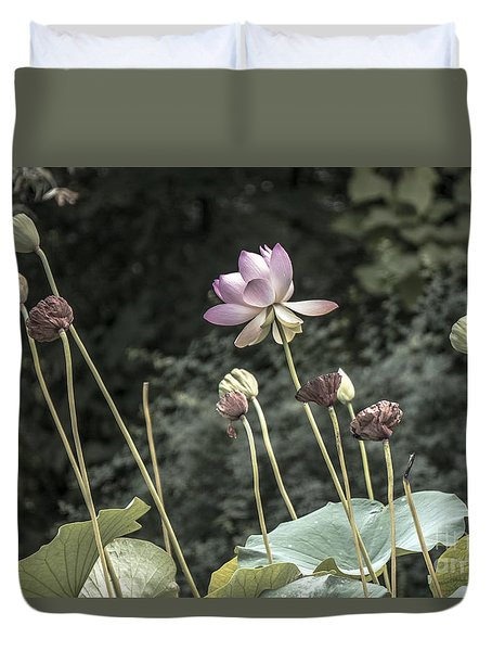 Duvet Cover featuring the photograph Beautiful Indian Lotus by Odon Czintos