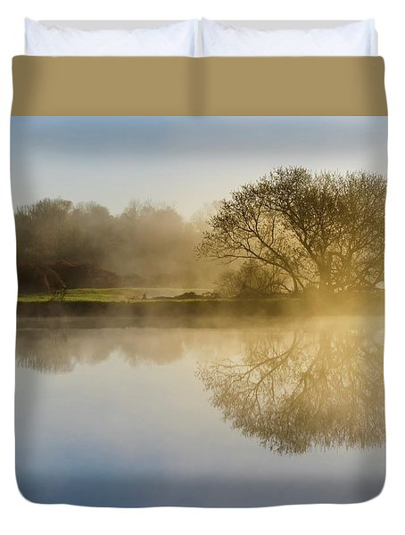 Duvet Cover featuring the photograph Beautiful Misty River Sunrise by Christina Rollo