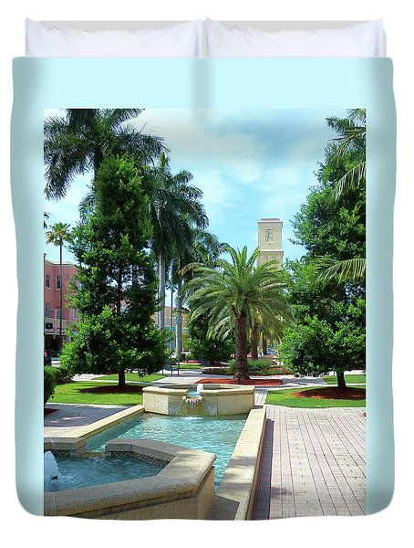 Beautiful Mizner Park In Boca Raton, Florida. #11 Duvet Cover