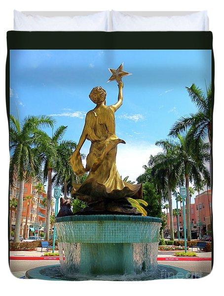 Beautiful Mizner Park In Boca Raton, Florida. Duvet Cover