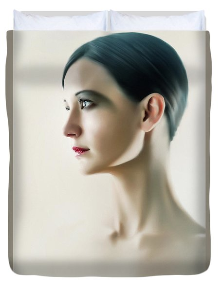 Duvet Cover featuring the photograph Beautiful Model Highkey Fashion Studio Portrait by Dimitar Hristov