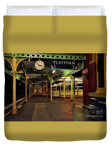 Duvet Cover featuring the photograph Beautiful Old Albury Station By Kaye Menner by Kaye Menner