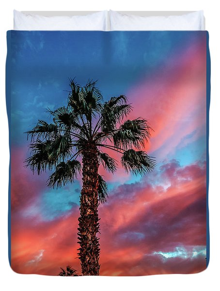 Duvet Cover featuring the photograph Beautiful Palm Tree by Robert Bales