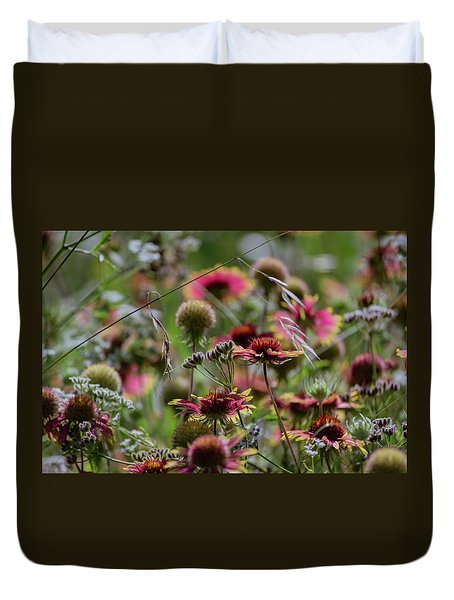 Beautiful Purple And Yellow Wildflowers Duvet Cover