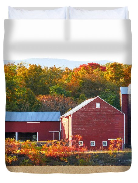 Beautiful Red Barn 2 Duvet Cover by Lanjee Chee