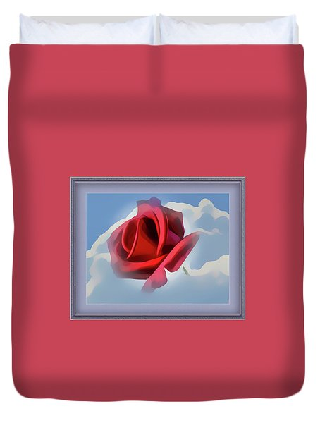 Beautiful Red Rose Cuddled By Cumulus Duvet Cover