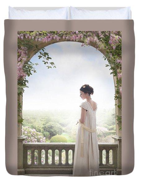 Beautiful Regency Woman Beneath A Wisteria Arch Duvet Cover
