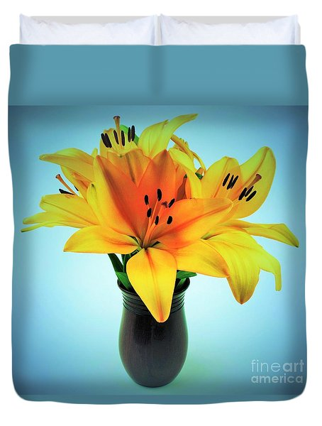 Duvet Cover featuring the photograph Beautiful Royal Lilies  by Ray Shrewsberry