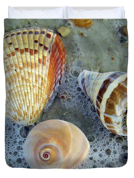 Beautiful Shells In The Surf Duvet Cover
