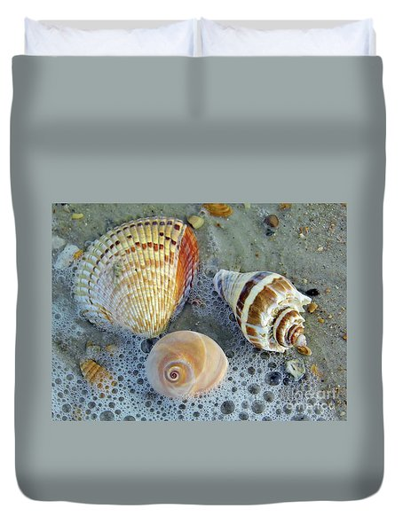Beautiful Shells In The Surf Duvet Cover by D Hackett