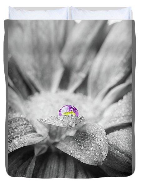 Beautiful Splash Of Purple On A Daisy In The Garden Duvet Cover