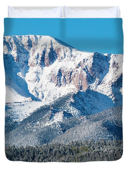 Beautiful Spring Snow On Pikes Peak Colorado Duvet Cover