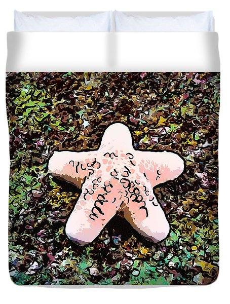 Beautiful Starfish In The Coral Reef Duvet Cover by Lanjee Chee