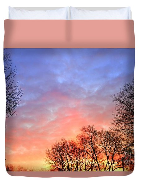 Beautiful Sunrise After Blizzard  Duvet Cover