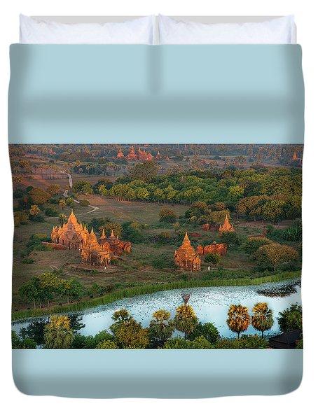 Duvet Cover featuring the photograph Beautiful Sunrise In Bagan by Pradeep Raja Prints
