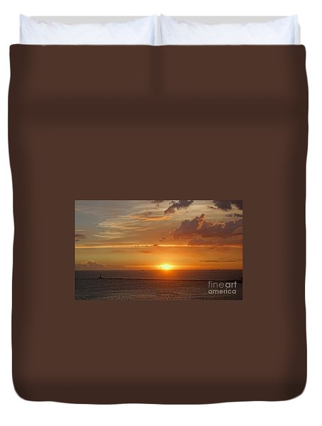 Duvet Cover featuring the photograph Beautiful Sunset At Kaohsiung Harbor by Yali Shi