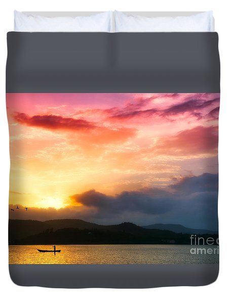 Beautiful Sunset Duvet Cover by Charuhas Images