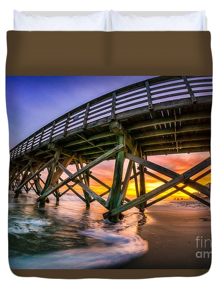 Beautiful Sunset In Myrtle Beach Duvet Cover by David Smith