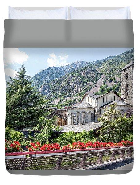 Beautiful View Of Andorra La Vella Duvet Cover by GoodMood Art
