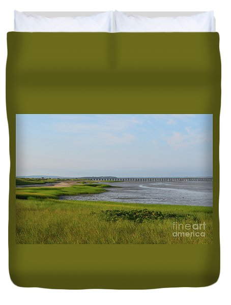 Beautiful Views Of Powder Point Bridge And Duxbury Bay Duvet Cover