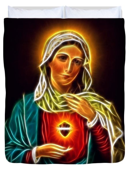 Beautiful Virgin Mary Sacred Heart Duvet Cover by Pamela Johnson