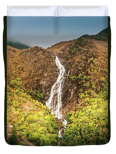 Beautiful Waterfall In Sunlight Duvet Cover