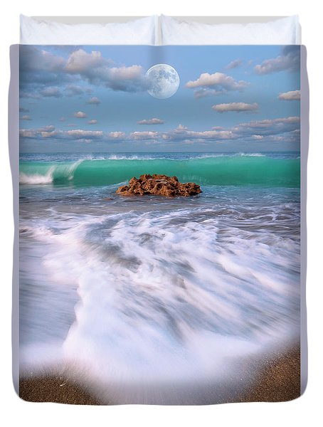 Beautiful Waves Under Full Moon At Coral Cove Beach In Jupiter, Florida Duvet Cover by Justin Kelefas