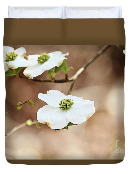 Duvet Cover featuring the photograph Beautiful White Flowering Dogwood Blossoms by Stephanie Frey