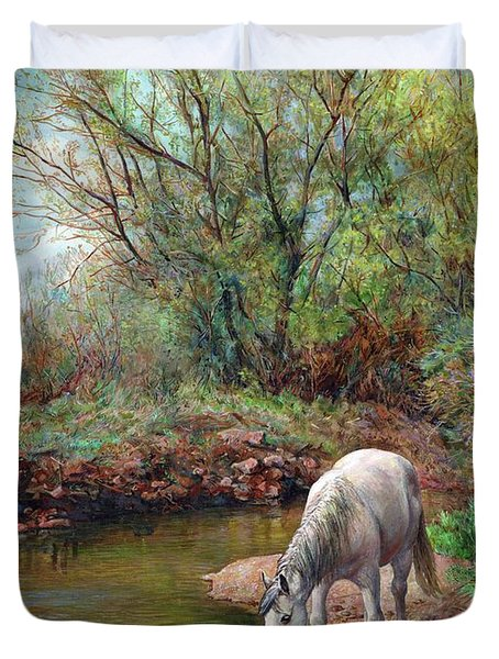 Beautiful White Horse And Enchanting Spring Duvet Cover