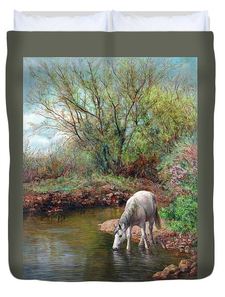 Duvet Cover featuring the painting Beautiful White Horse And Enchanting Spring by Svitozar Nenyuk