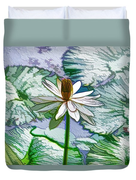 Beautiful White Water Lilies Flower Duvet Cover by Lanjee Chee