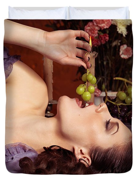 Beautiful Woman Eating Grapes On A Festive Table Duvet Cover by Oleksiy Maksymenko