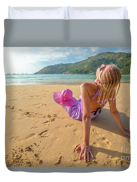 Beautiful Woman Sunbathing On Beach Duvet Cover