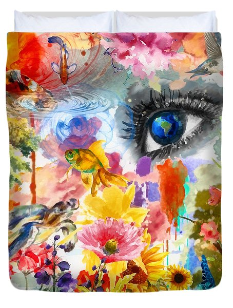 Duvet Cover featuring the painting Beautiful World by Elizabeth Coats