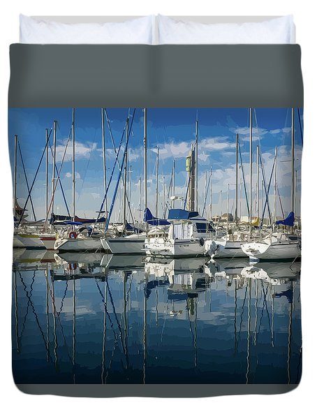 Beautiful Yachts Moored In The Marina Duvet Cover