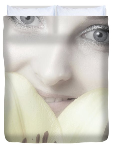 Beautiful Young Woman With A Yellow Lily Duvet Cover by Oleksiy Maksymenko