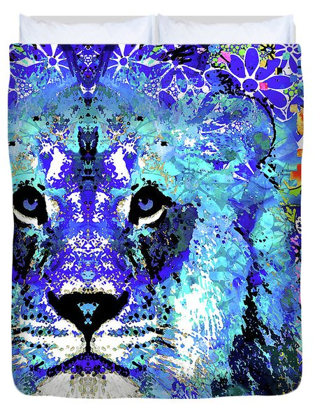 Duvet Cover featuring the painting Beauty And The Beast - Lion Art - Sharon Cummings by Sharon Cummings
