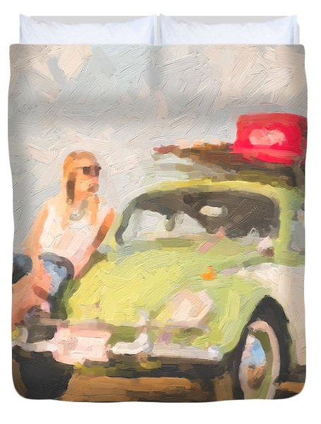 Duvet Cover featuring the digital art Beauty And The Beetle - Road Trip No.1 by Serge Averbukh