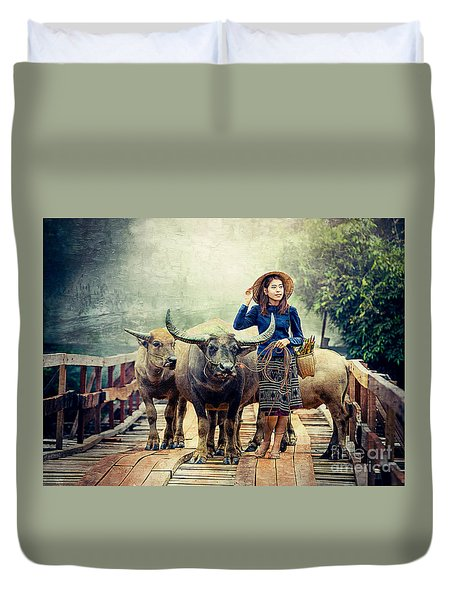 Beauty And The Water Buffalo Duvet Cover by Ian Gledhill