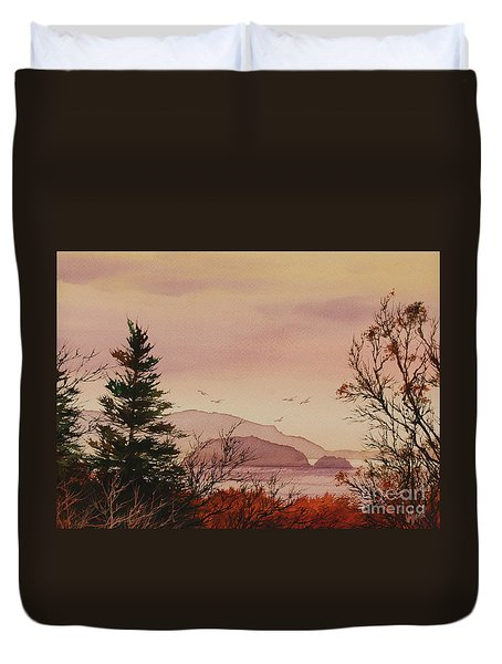 Duvet Cover featuring the painting Beauty At The Shore by James Williamson