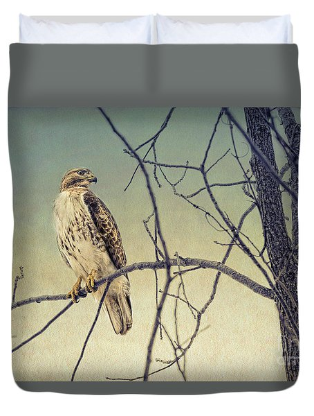 Red-tailed Hawk On Watch Duvet Cover