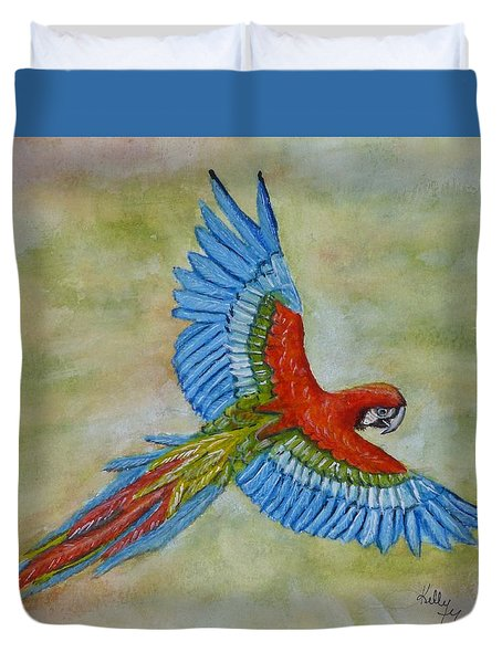 Duvet Cover featuring the painting Beauty In The Sky ... Parrot by Kelly Mills