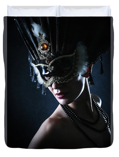 Duvet Cover featuring the photograph Beauty Model Wearing Venetian Masquerade Carnival Mask by Dimitar Hristov