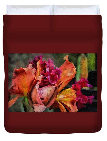 Duvet Cover featuring the mixed media Beauty Of An Orchid by Trish Tritz