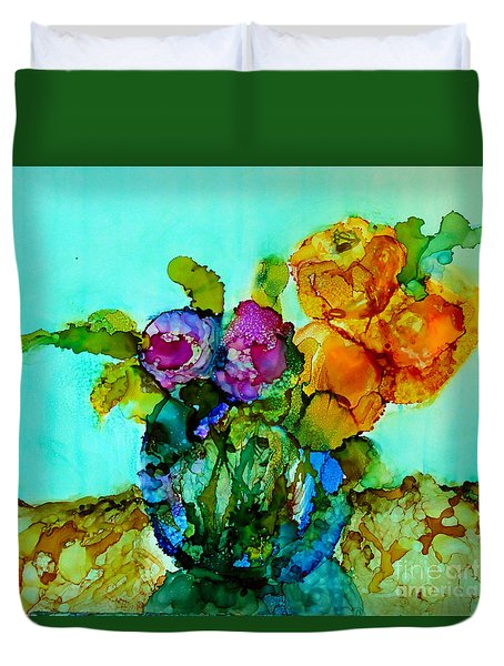 Duvet Cover featuring the painting Beauty Of Flowers by Priti Lathia